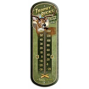 "17"" Tin Thermometer Trophy Bucks Hunting Lodge"