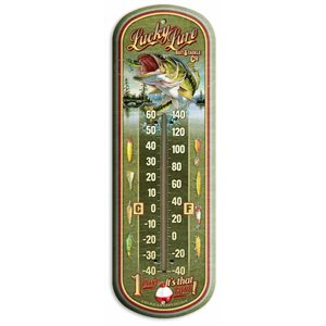 "17"" Tin Thermometer Lucky Lure Bait & Tackle Co"