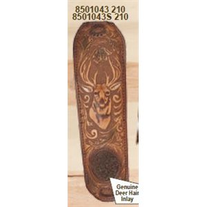 Brown Leather Trophy Gunsling with Embossed Deer Head, Deer