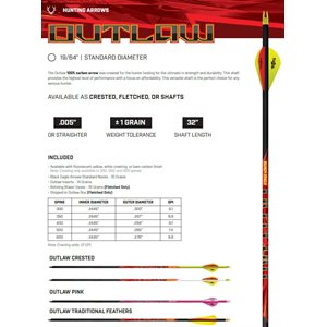 OUTLAW FLETCHED ARROWS- .005'' 6 PACK 400
