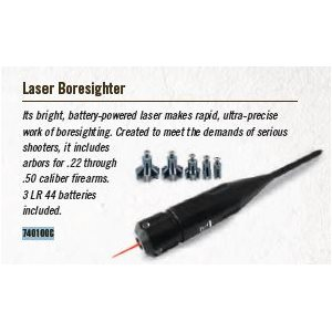 .22 - .50 CALIBER - 5 ARBORS, LASER BORESIGHTER, CLAM