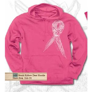 Brush Ribbon Deer Hoodie «neon Pink