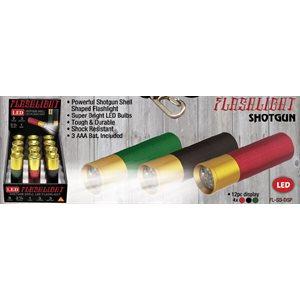 9 LED shotgun shell flashlight display, black, green, red, 1