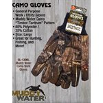 NEW Muddy Water Camo glove, knit wrist, MD.