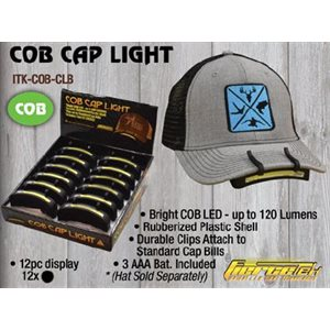COB Cap Light, very bright 150 Lumens, Black in 12 ct. displ