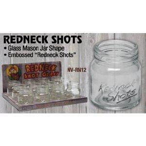 Redneck Mason Jar shot glass, 12 ct. dsp
