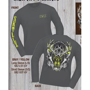 """Skullz"" long sleeve Tee, Gray, XXL"
