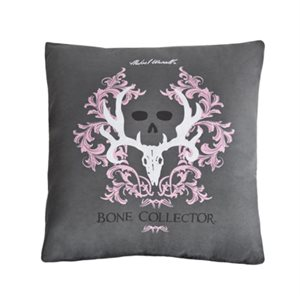 BONE COLLECTOR PINK GRAY SQUARE PILLOW