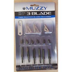 "Muzzy 100 Grain 3-Blade 1 3 / 16"" Cut (6 pack)"