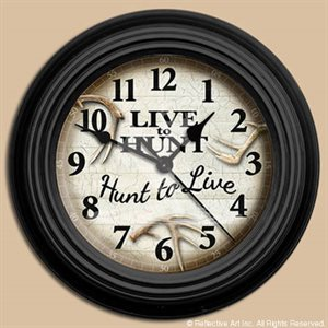 "10"" dia. Wall Clocks LIVE TO HUNT"