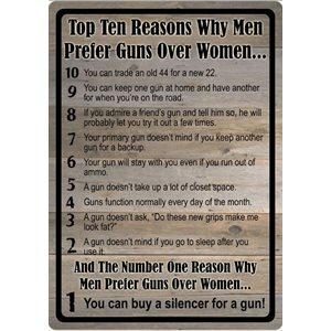 "10 REASONS FOR GUN OVER WOMAN TIN SIGN 12""x17"""