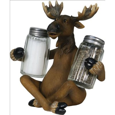Salt and Pepper Shakers - Moose Holding