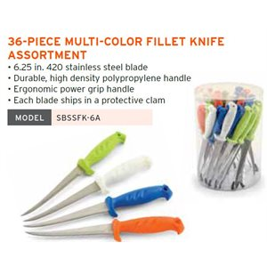 6 IN FILLETKNIFE-ASTCLRS 36PC